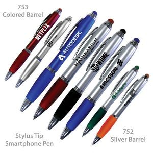 Smart Phone Pen With Stylus & Comfort Grip - Metallic Finish