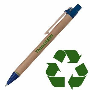 Original Eco Friendly Recycled Paper Pen w/ Blue Trim